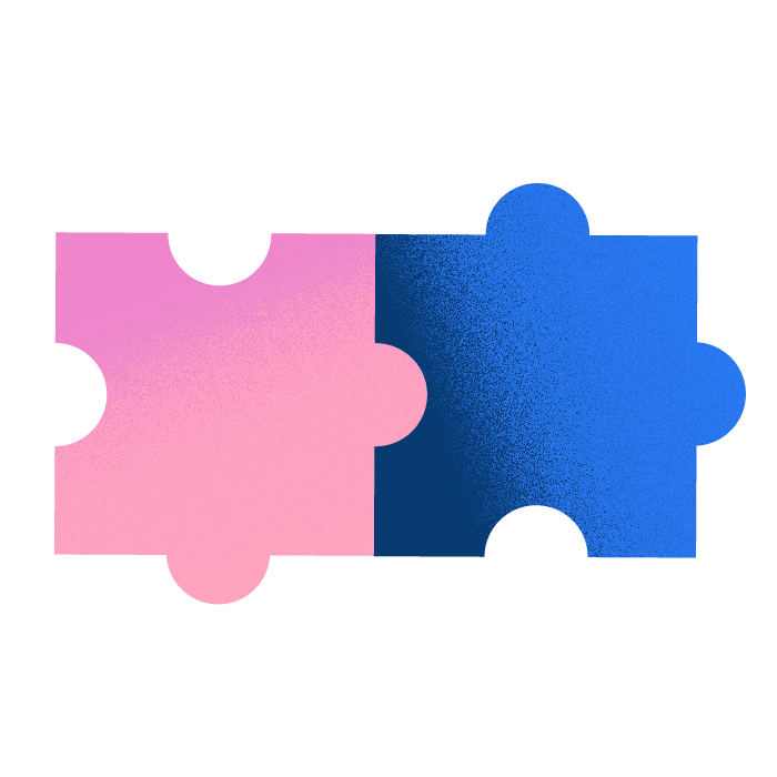 Pink and blue jigsaw puzzle pieces