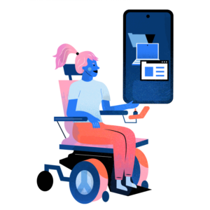 Woman in a wheelchair accessing information from the internet