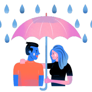 A man and woman under and umbrella in the rain