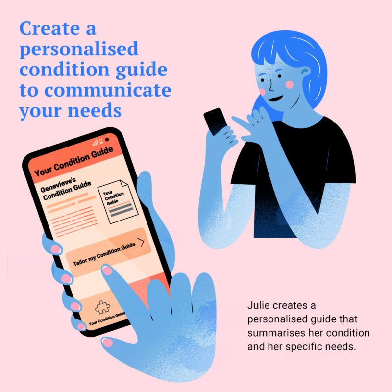 Julie creates a personalised condition guide that summarises her condition and specific needs.